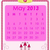 Printable Pink Princess May 2013 Calendar - Printable Monthly Calendars - Free Printable Calendars