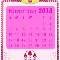 Printable Pink Princess November 2013 Calendar - Printable Monthly Calendars - Free Printable Calendars