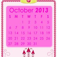 Printable Pink Princess October 2013 Calendar - Printable Monthly Calendars - Free Printable Calendars