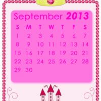 Printable Pink Princess September 2013 Calendar - Printable Monthly Calendars - Free Printable Calendars