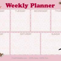 Pink Weekly Planner With Cartoon Images