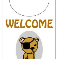 Printable Pirate Bear Door Knob Hanger - Printable Fun - Free Printable Activities