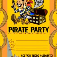 Printable Yellow Pirate Party Invitation - Printable Birthday Invitation Cards - Free Printable Invitations