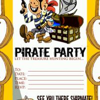 Printable Pirate Party Invitation - Printable Birthday Invitation Cards - Free Printable Invitations