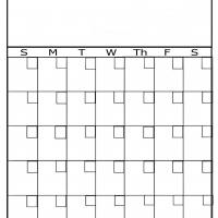 Plain Blank Monthly Calendar