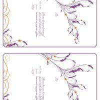 Plum with Orange Heather Reception Card Invitation