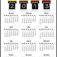 Printable Polaroid Cameras 2013 Calendar - Printable Yearly Calendar - Free Printable Calendars