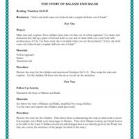 Printable Kids Project: The Story of Balaam and Balak - Printable Church Worksheets and Lessons - Free Printable Worksheets