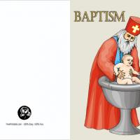 Priest Wth Baby Baptism Invite