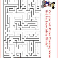 Printable Prince Charming Mickey finding Minnie - Printable Mazes - Free Printable Games