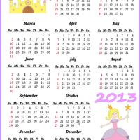 Printable Princess and Castle 2013 Calendar - Printable Yearly Calendar - Free Printable Calendars