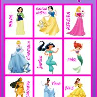 Printable Princess Bingo Tiles - Printable Bingo - Free Printable Games