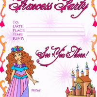 Printable Princess Party Invitation - Printable Birthday Invitation Cards - Free Printable Invitations