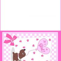 Puppy with Pink Balloon Baby Card