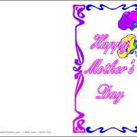 Printable Purple Border Card - Printable Mothers Day Cards - Free Printable Cards