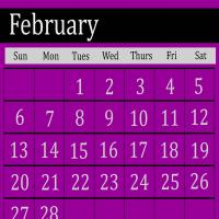 Printable Purple February 2011 Calendar - Printable Monthly Calendars - Free Printable Calendars