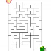Printable Put The Apple Core In The Trash - Printable Mazes - Free Printable Games