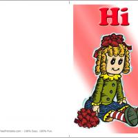 Printable Raggedy Ann Doll Hi - Printable Greeting Cards - Free Printable Cards