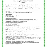 Printable Reading & Discussion: Fiery Furnace - Printable Church Worksheets and Lessons - Free Printable Worksheets