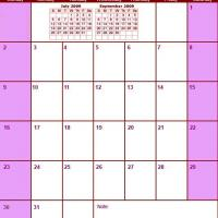Printable Red & Pink August 2009 Calendar - Printable Monthly Calendars - Free Printable Calendars