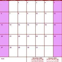 Printable Red & Pink December 2009 Calendar - Printable Monthly Calendars - Free Printable Calendars