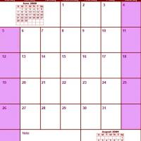 Printable Red & Pink July 2009 Calendar - Printable Monthly Calendars - Free Printable Calendars