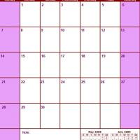 Printable Red & Pink June 2009 Calendar - Printable Monthly Calendars - Free Printable Calendars