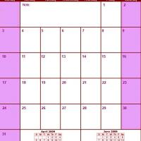 Printable Red & Pink May 2009 Calendar - Printable Monthly Calendars - Free Printable Calendars