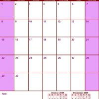 Printable Red & Pink November 2009 Calendar - Printable Monthly Calendars - Free Printable Calendars