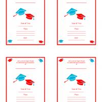Printable Red and Blue Fill-in Card Invitation - Printable Graduation Invitations - Free Printable Invitations