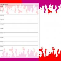 Printable Red and Purple Drips Daily Planner - Printable Daily Calendar - Free Printable Calendars