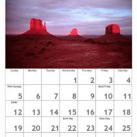 Red April Scenery Calendar