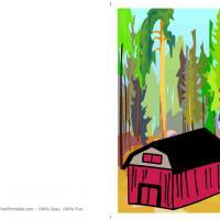 Red Barn Christmas Postcard