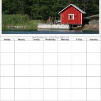 Printable Red Cabin Blank Calendar - Printable Blank Calendars - Free Printable Calendars