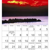 Red December Scenery Calendar