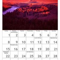Printable Red February Scenery Calendar - Printable Calendar Pages - Free Printable Calendars