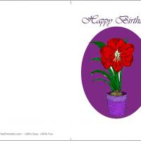 Printable Red Flower On A Pot - Printable Birthday Cards - Free Printable Cards