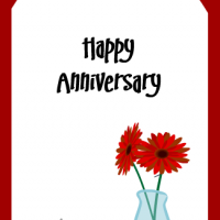 Printable Red Flowers Anniversary Tag - Printable Labels - Misc Printables