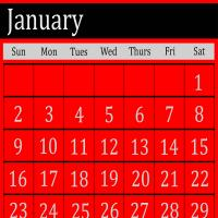 Red January 2011 Calendar