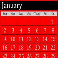 Red January 2011 Calendar