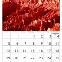 Printable Red July Scenery Calendar - Printable Calendar Pages - Free Printable Calendars