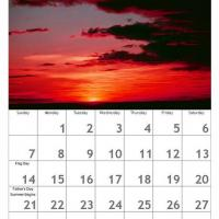 Red June Scenery Calendar