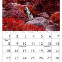 Red March Scenery Calendar
