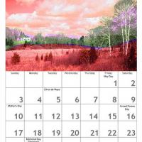 Printable Red May Scenery Calendar - Printable Calendar Pages - Free Printable Calendars