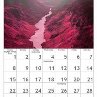 Red November Scenery Calendar