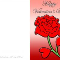 Printable Red Rose With Heart Leaves - Printable Valentines - Free Printable Cards