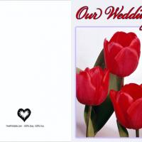 Red Tulip Blank Wedding Invitation
