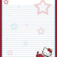 Printable Red White and Blue Hello Kitty on a Plane - Printable Stationary - Free Printable Activities