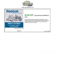 Printable Reebok $20 Off on Purchase of $100 and Up - Printable Discount Coupons - Free Printable Coupons