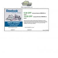 Reebok $5 Off on Purchase of $50 or $10 Off on Pucrhase of $65